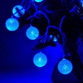 Гирлянда фонарики из нитей, 4,5 метра, синего цвета