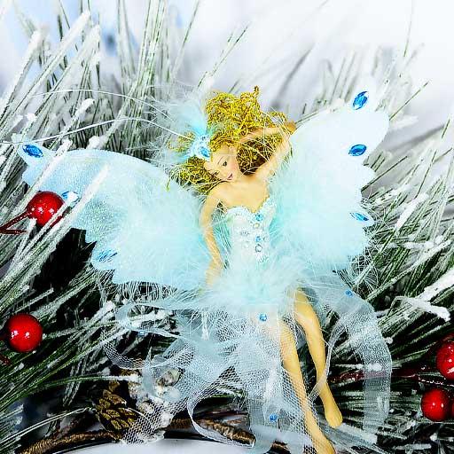 Ёлочное украшение Фея с голубыми крыльями 14 см
