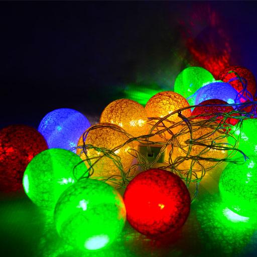 Гирлянда фонарики из нитей, 20 шаров, 4 цвета