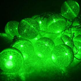 Гирлянда фонарики из нитей, 20 шаров зелёного цвета