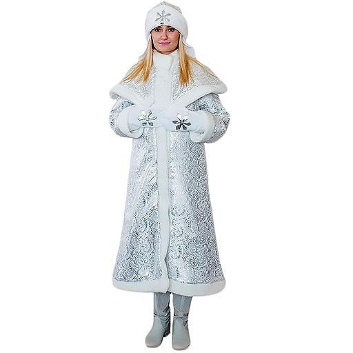 Взрослый новогодний костюм Снегурочка Царская, 44-48 размер