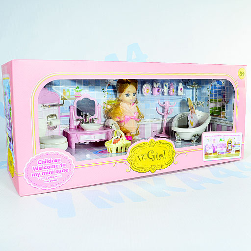 """Набор мебели """"Ванная комната с куклой"""" Арт. 1896010"""