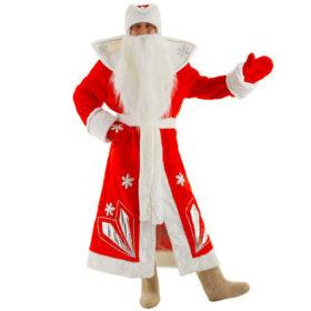 Взрослый новогодний костюм Дед Мороз Люкс, 52-54 размер
